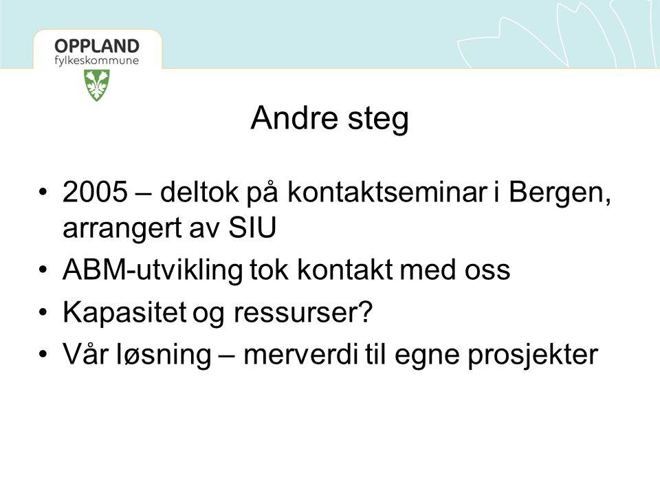 Andre steg •2005 – deltok på kontaktseminar i Bergen, arrangert av SIU •ABM-utvikling tok kontakt med oss •Kapasitet og ressurser.