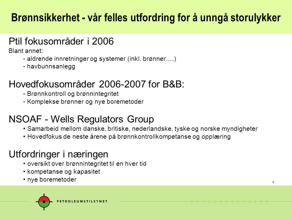 4 Brønnsikkerhet - vår felles utfordring for å unngå storulykker Ptil fokusområder i 2006 Blant annet: - aldrende innretninger og systemer (inkl.
