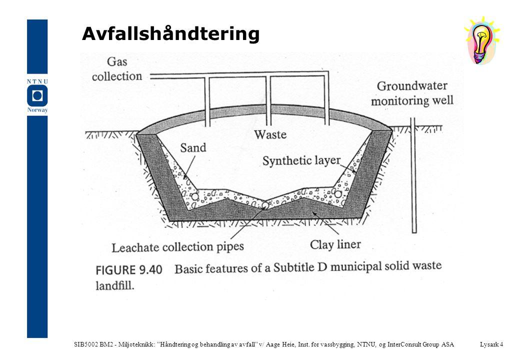 SIB5002 BM2 - Miljøteknikk: Håndtering og behandling av avfall v/ Aage Heie, Inst.