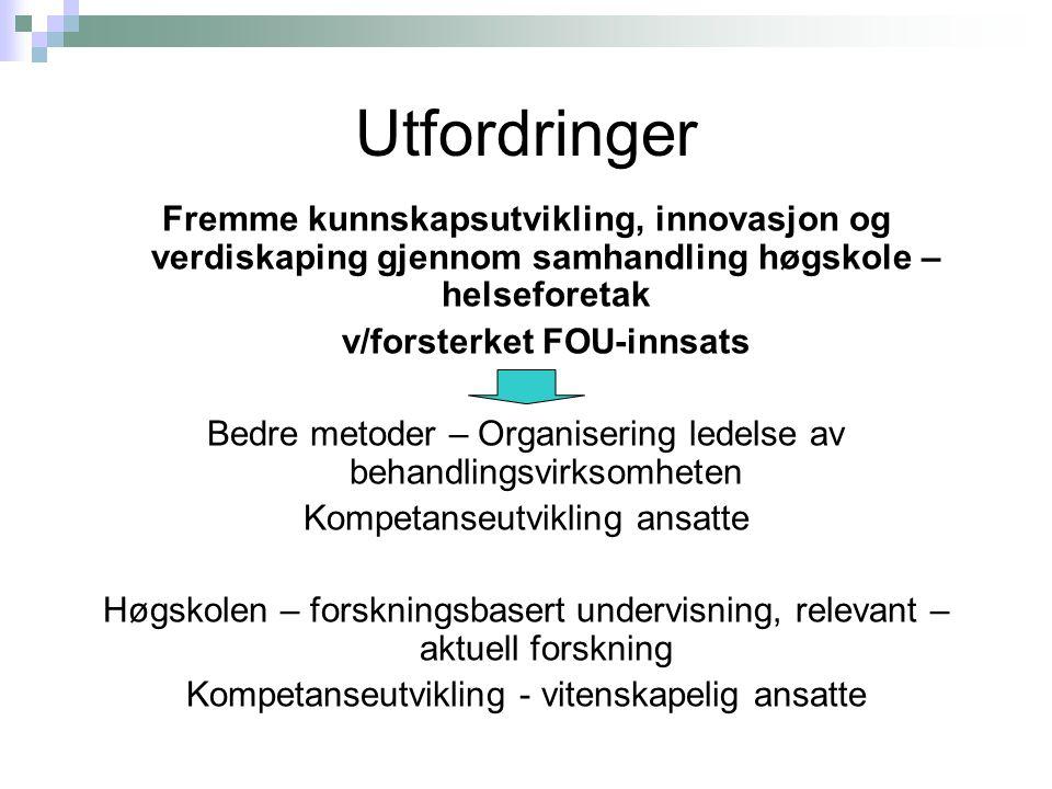 Utfordringer Fremme kunnskapsutvikling, innovasjon og verdiskaping gjennom samhandling høgskole – helseforetak v/forsterket FOU-innsats Bedre metoder