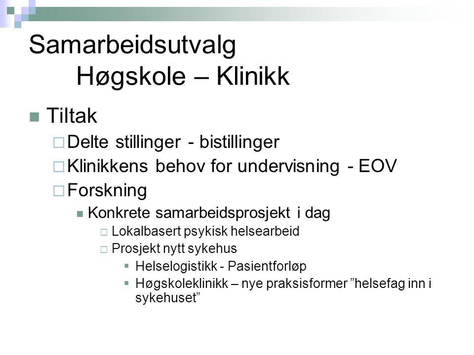 Samarbeidsutvalg Høgskole – Klinikk  Tiltak  Delte stillinger - bistillinger  Klinikkens behov for undervisning - EOV  Forskning  Konkrete samarb