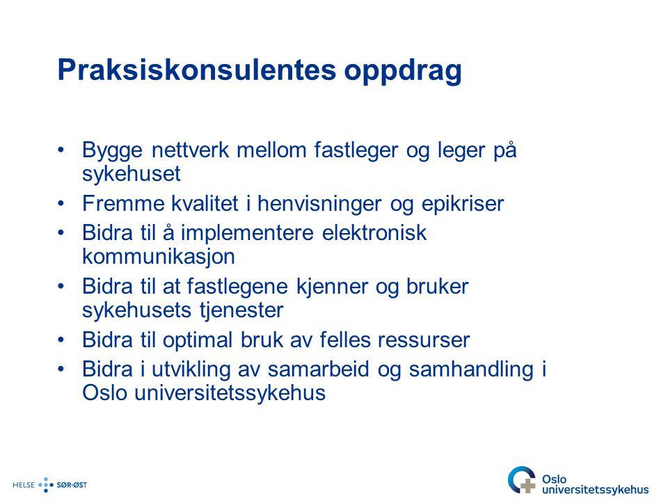 Samhandlingsutfordringer i Oslo •Endringene i Oslo universitetssykehus •Nedleggelsen av Aker sykehus •Overføring av pasienter til AHUS og Vestre Viken •Fastlegene i Oslo forholder seg til 4 (++) ulike lokalsykehus •Private avtalespesialister inkluderes ikke i planer og avtaler vedrørende samhandling •Mangel på smidighet i samarbeidet mellom fastleger og bydel •Legevakten har for stor belastning med fastlegearbeid