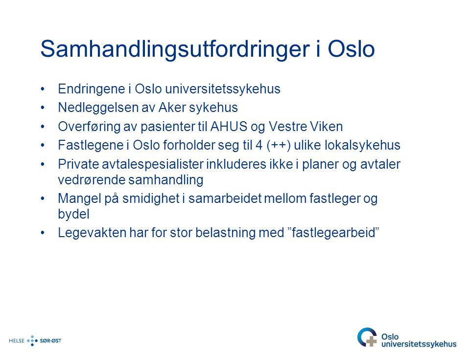 Samhandlingsutfordringer i Oslo •Endringene i Oslo universitetssykehus •Nedleggelsen av Aker sykehus •Overføring av pasienter til AHUS og Vestre Viken