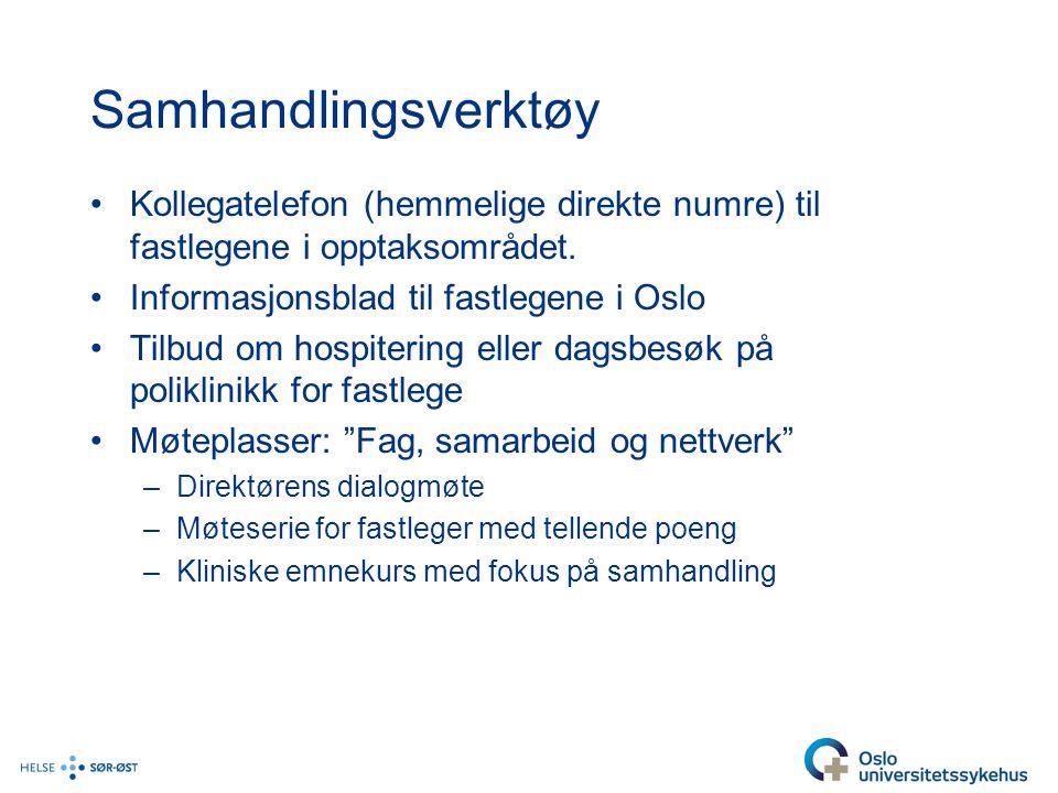 Samhandlingsverktøy •Kollegatelefon (hemmelige direkte numre) til fastlegene i opptaksområdet. •Informasjonsblad til fastlegene i Oslo •Tilbud om hosp