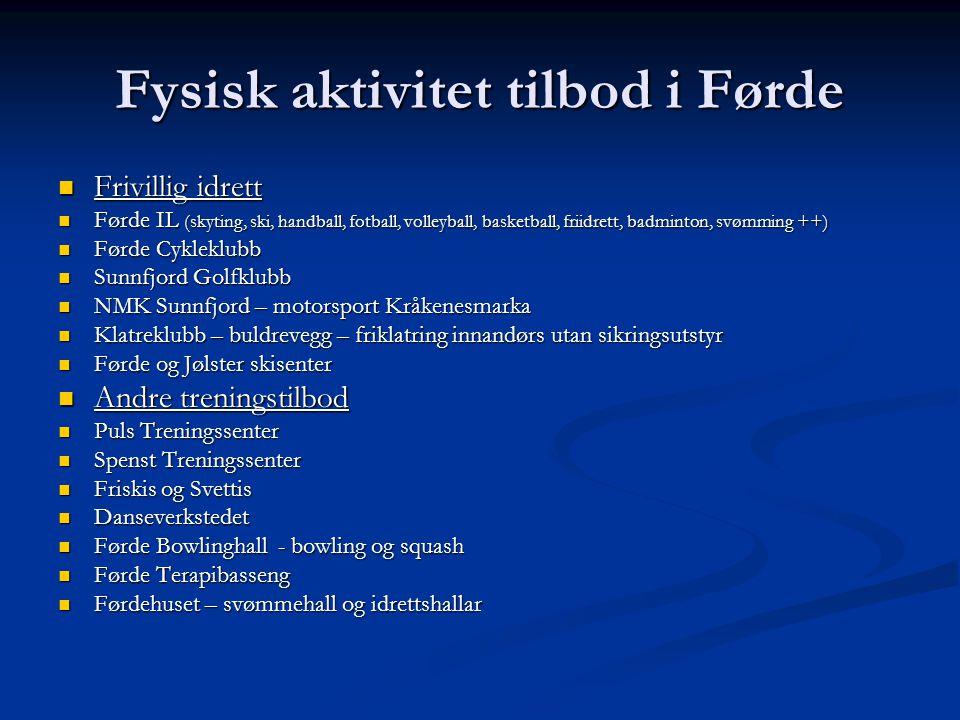 Fysisk aktivitet tilbod i Førde  Frivillig idrett  Førde IL (skyting, ski, handball, fotball, volleyball, basketball, friidrett, badminton, svømming