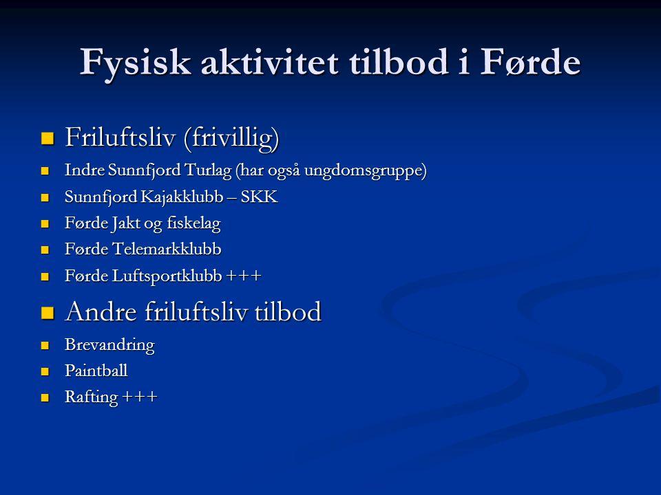 Fysisk aktivitet tilbod i Førde  Friluftsliv (frivillig)  Indre Sunnfjord Turlag (har også ungdomsgruppe)  Sunnfjord Kajakklubb – SKK  Førde Jakt