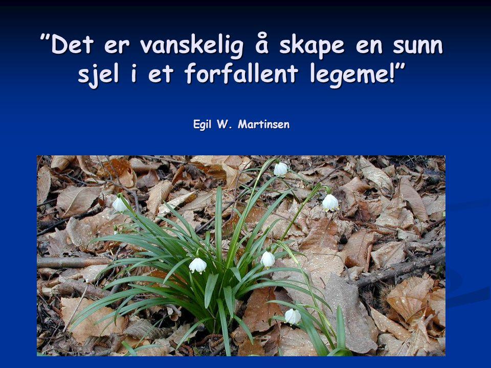"""""""Det er vanskelig å skape en sunn sjel i et forfallent legeme!"""" Egil W. Martinsen"""