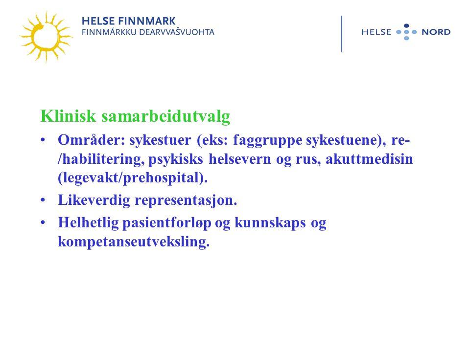 Klinisk samarbeidutvalg •Områder: sykestuer (eks: faggruppe sykestuene), re- /habilitering, psykisks helsevern og rus, akuttmedisin (legevakt/prehospital).