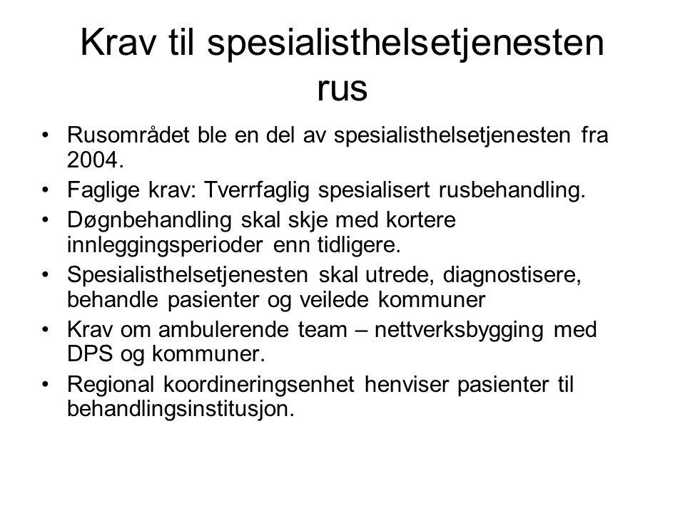 Krav til spesialisthelsetjenesten rus •Rusområdet ble en del av spesialisthelsetjenesten fra 2004. •Faglige krav: Tverrfaglig spesialisert rusbehandli