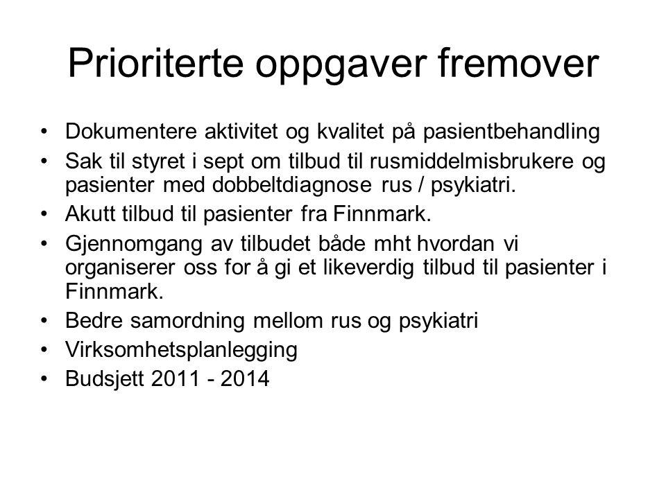 Prioriterte oppgaver fremover •Dokumentere aktivitet og kvalitet på pasientbehandling •Sak til styret i sept om tilbud til rusmiddelmisbrukere og pasi