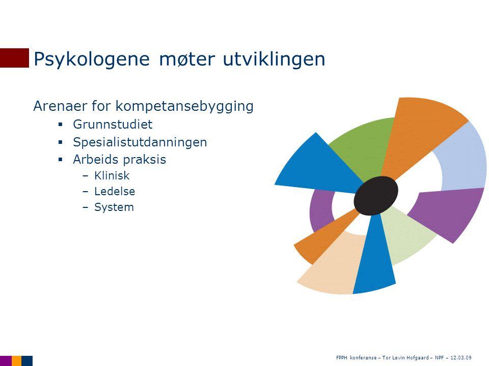 FPPH konferanse – Tor Levin Hofgaard – NPF – 12.03.09 Psykologene møter utviklingen Arenaer for kompetansebygging  Grunnstudiet  Spesialistutdanning