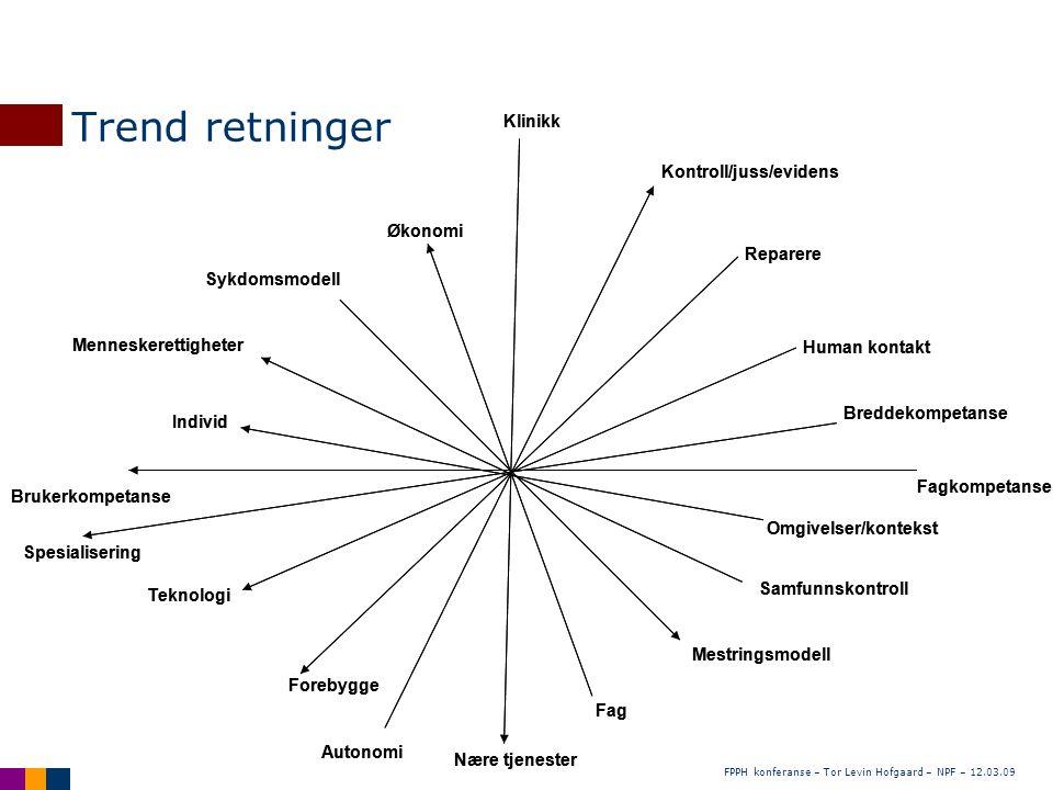 FPPH konferanse – Tor Levin Hofgaard – NPF – 12.03.09 Trend retninger Brukerkompetanse Fagkompetanse Klinikk Nære tjenester Forebygge Reparere Teknolo