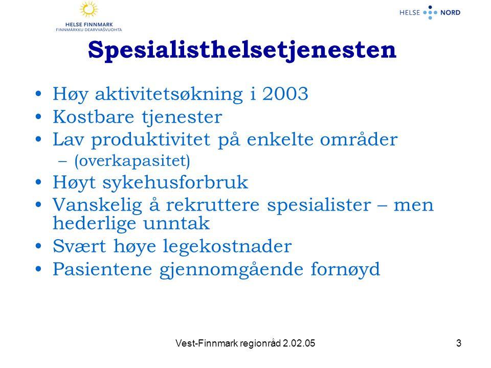 Vest-Finnmark regionråd 2.02.054 Samarbeid med kommunehelsetjenesten •Besøke samtlige kommuner •Pålagt av eier •Generelle og spesielle områder for samarbeid •Et område hvor vi har forutsetninger for å bli gode i Finnmark