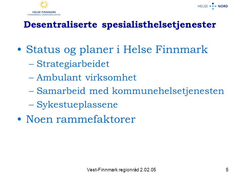 Vest-Finnmark regionråd 2.02.056 Sykestueplasser •40 sykestueplasser •Potensiale for reduserte innleggelser og raskere utskriving •Krever tett og tillitsfullt samarbeid •Behov for å dokumentere bruken