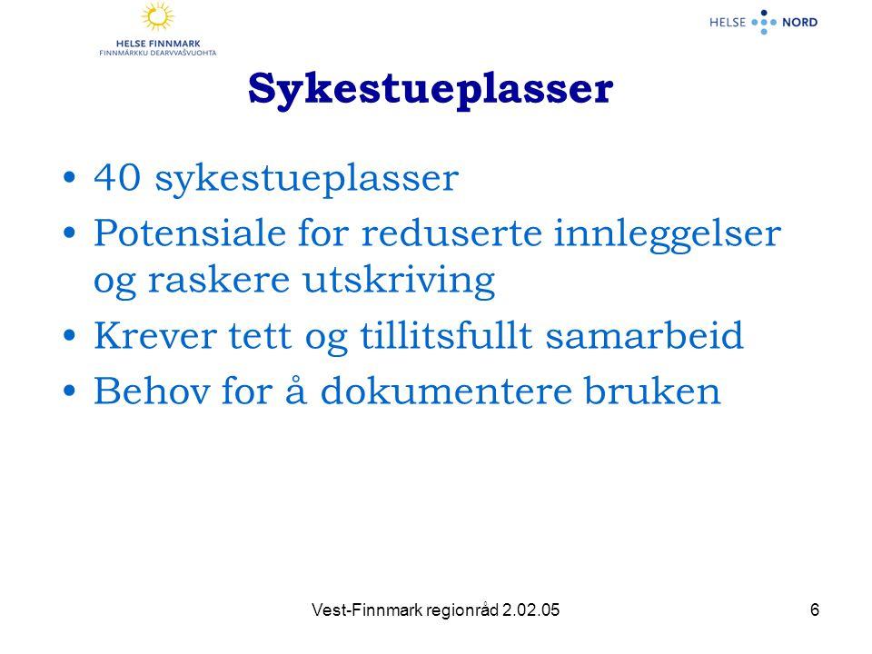 Vest-Finnmark regionråd 2.02.057 Klinikk Hammerfest Klinikk for psykisk helsevern Klinikk Kirkenes Klinikk for psykisk helsevern Klinikk for psykisk helsevern, Klinikk Hammerfest Klinikk for psykisk helsevern Klinikk Hammerfest SYKESTUE -PLASSER 2 6 2 2 1 11 3 2 4 1 3 10 1 1 1 Klinikk for psykisk helsevern