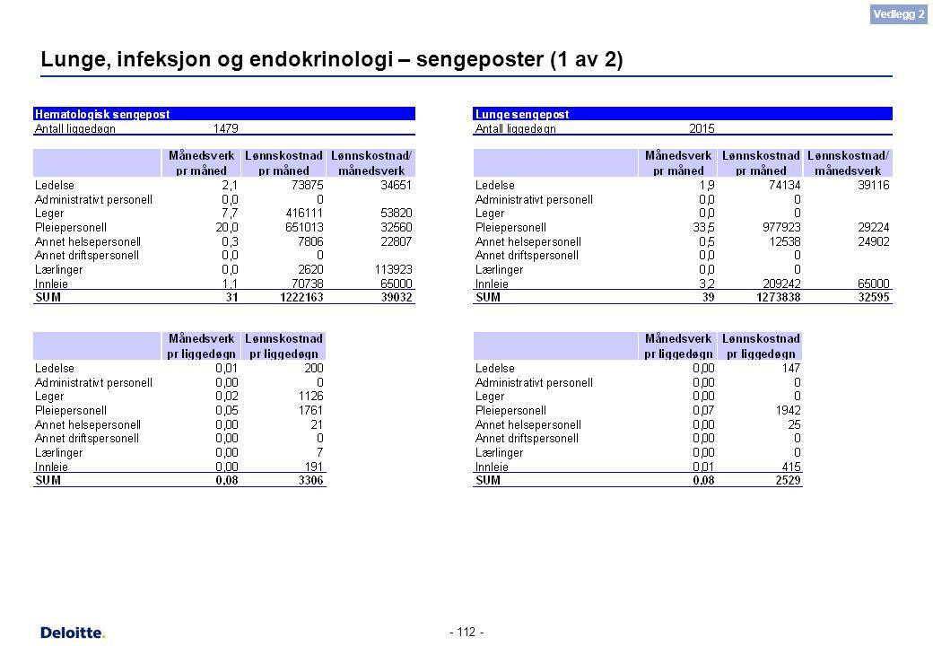 - 112 - Lunge, infeksjon og endokrinologi – sengeposter (1 av 2) Vedlegg 2