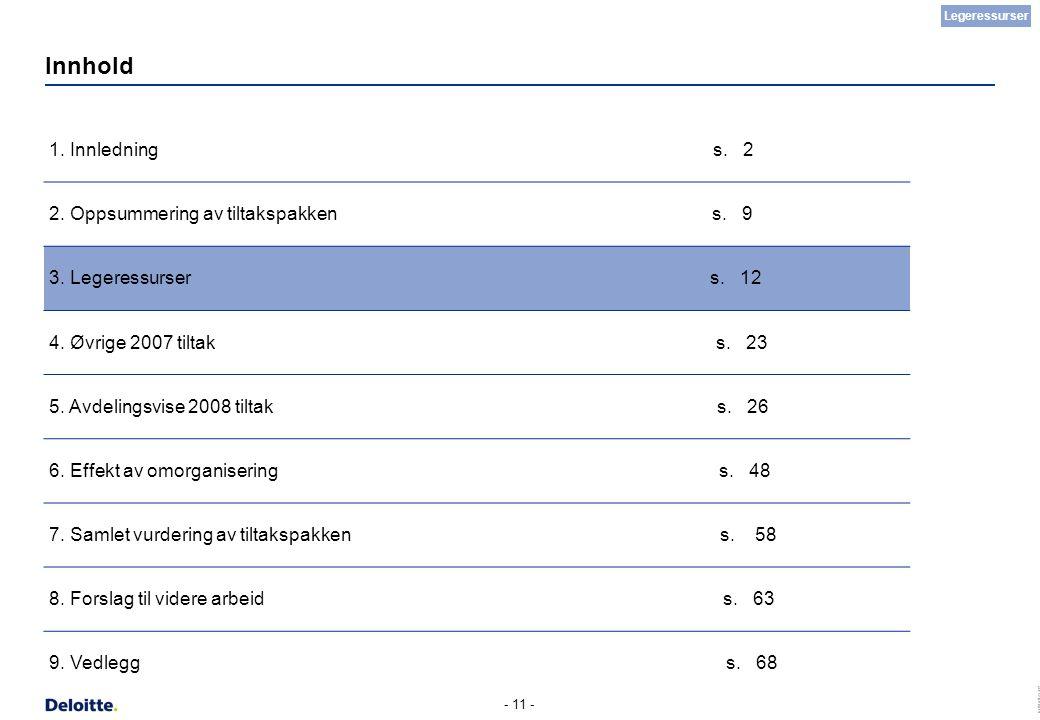 (c) Deloitte AS 2007 - 11 - Innhold 1. Innledning s. 2 2. Oppsummering av tiltakspakken s. 9 3. Legeressurser s. 12 4. Øvrige 2007 tiltak s. 23 5. Avd