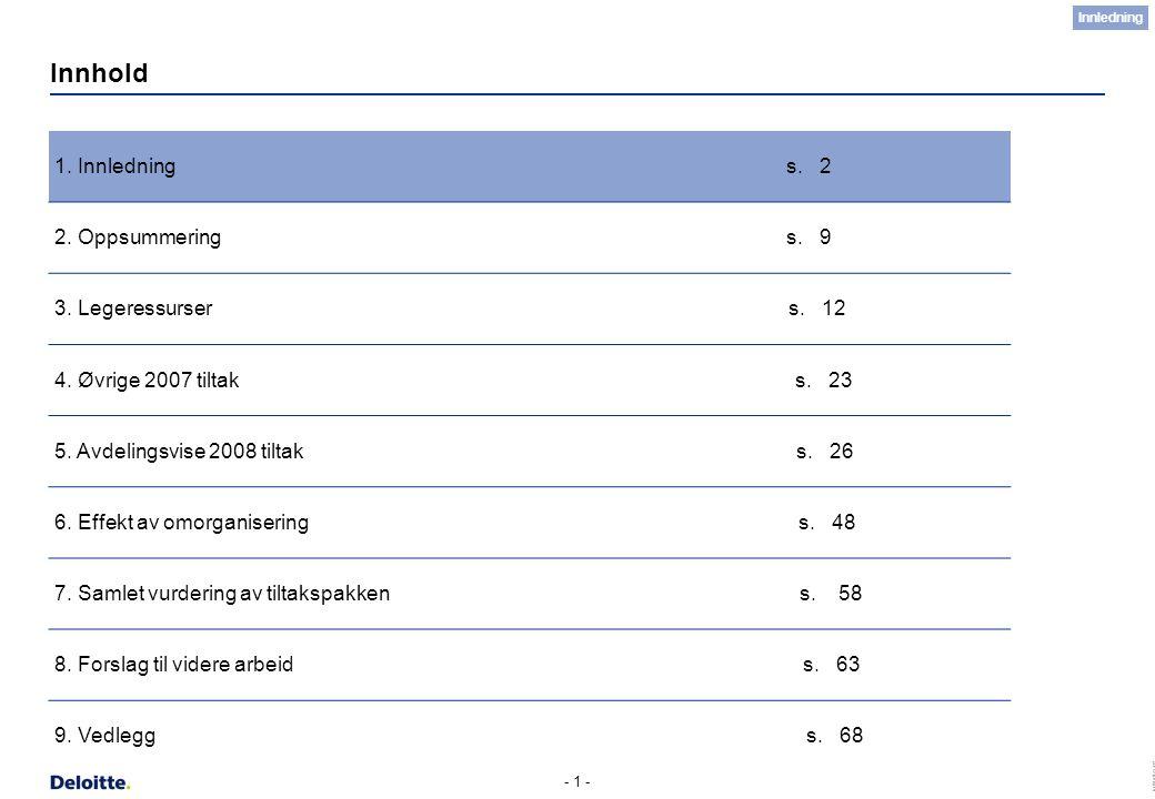 (c) Deloitte AS 2007 - 1 - Innhold 1. Innledning s. 2 2. Oppsummering s. 9 3. Legeressurser s. 12 4. Øvrige 2007 tiltak s. 23 5. Avdelingsvise 2008 ti