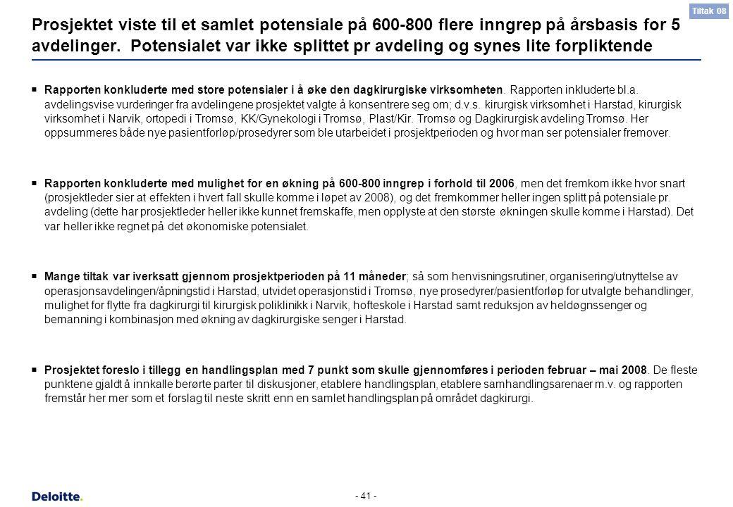 - 41 - Prosjektet viste til et samlet potensiale på 600-800 flere inngrep på årsbasis for 5 avdelinger. Potensialet var ikke splittet pr avdeling og s