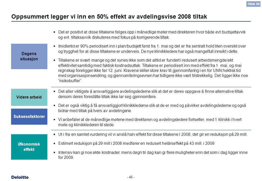 - 46 - Oppsummert legger vi inn en 50% effekt av avdelingsvise 2008 tiltak  Det er positivt at disse tiltakene følges opp i månedlige møter med direk