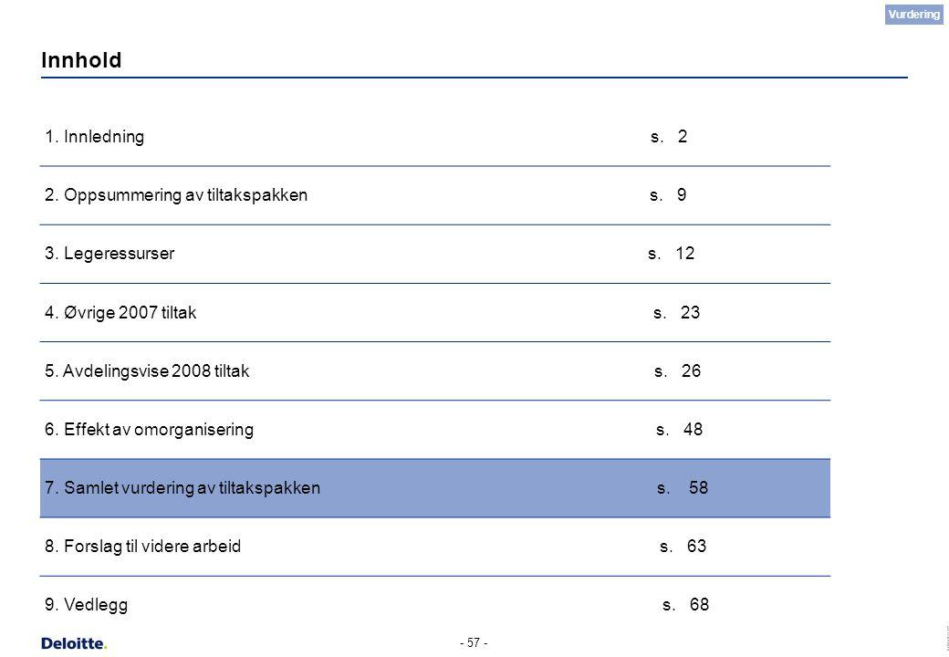 (c) Deloitte AS 2007 - 57 - Innhold 1. Innledning s. 2 2. Oppsummering av tiltakspakken s. 9 3. Legeressurser s. 12 4. Øvrige 2007 tiltak s. 23 5. Avd