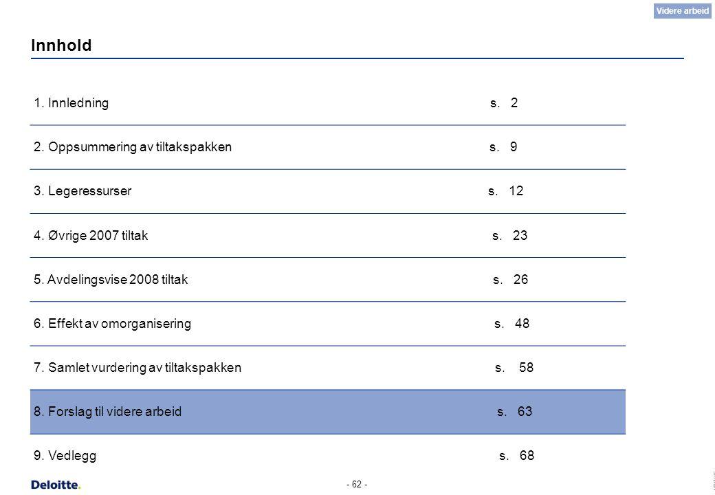 (c) Deloitte AS 2007 - 62 - Innhold 1. Innledning s. 2 2. Oppsummering av tiltakspakken s. 9 3. Legeressurser s. 12 4. Øvrige 2007 tiltak s. 23 5. Avd