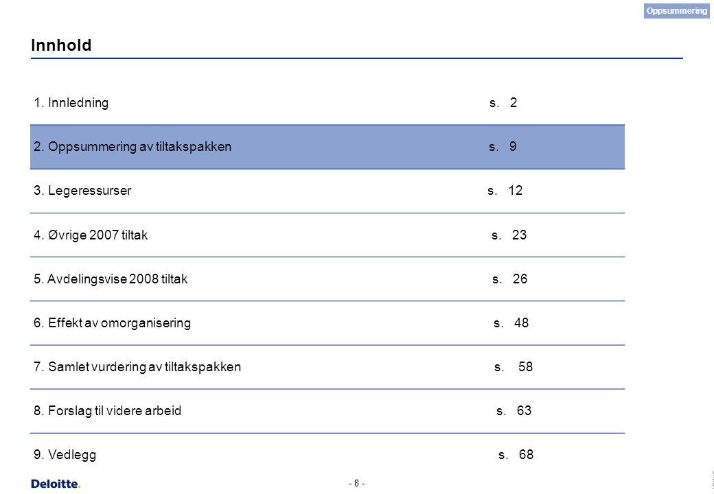 (c) Deloitte AS 2007 - 8 - Innhold 1. Innledning s. 2 2. Oppsummering av tiltakspakken s. 9 3. Legeressurser s. 12 4. Øvrige 2007 tiltak s. 23 5. Avde