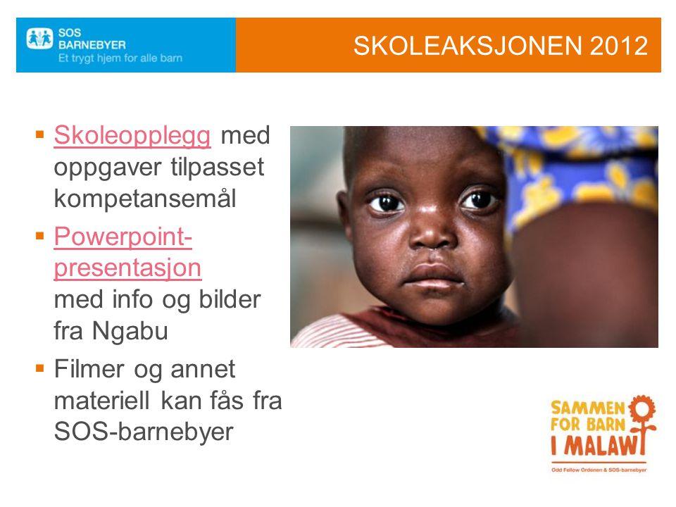 SKOLEAKSJONEN 2012  Skoleopplegg med oppgaver tilpasset kompetansemål Skoleopplegg  Powerpoint- presentasjon med info og bilder fra Ngabu Powerpoint
