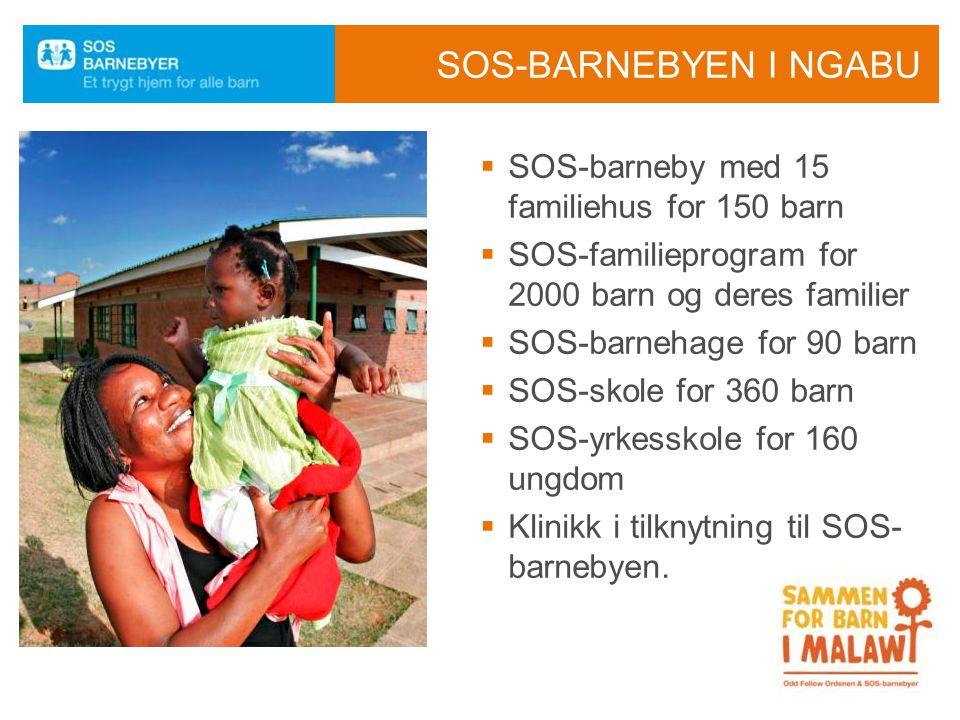 SOS-BARNEBYEN I NGABU  SOS-barneby med 15 familiehus for 150 barn  SOS-familieprogram for 2000 barn og deres familier  SOS-barnehage for 90 barn 