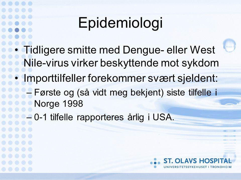 Epidemiologi •Tidligere smitte med Dengue- eller West Nile-virus virker beskyttende mot sykdom •Importtilfeller forekommer svært sjeldent: –Første og (så vidt meg bekjent) siste tilfelle i Norge 1998 –0-1 tilfelle rapporteres årlig i USA.