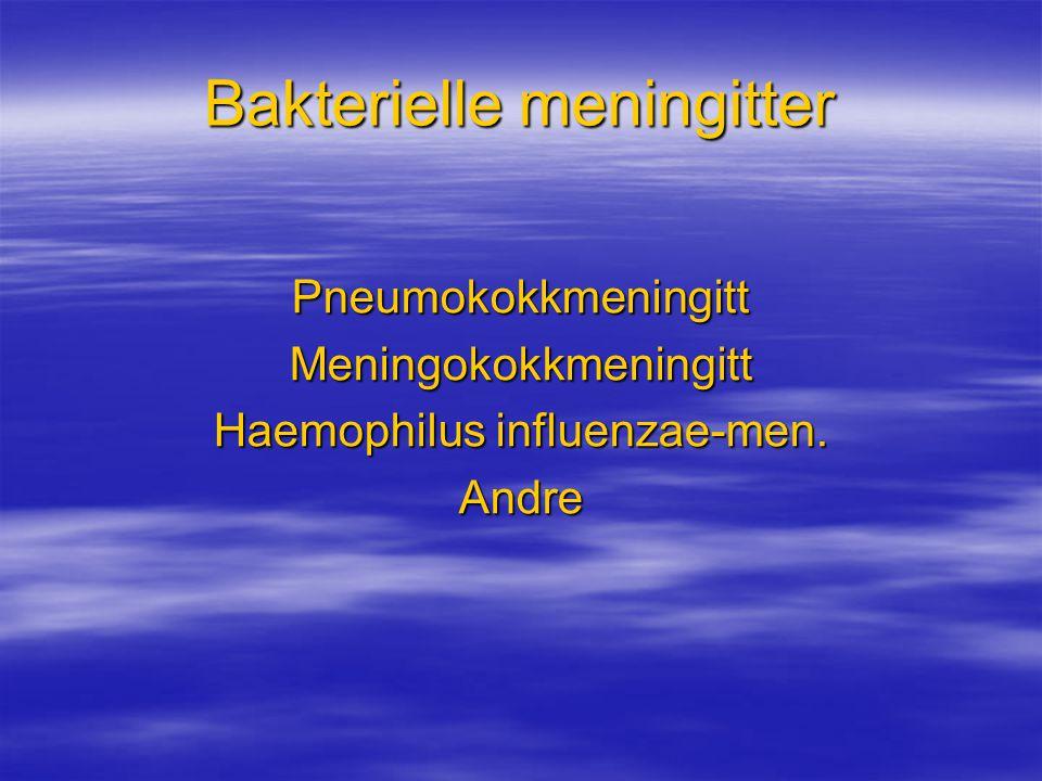 Bakterielle meningitter PneumokokkmeningittMeningokokkmeningitt Haemophilus influenzae-men. Andre