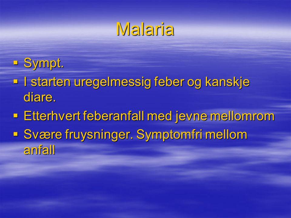 Malaria  Sympt.  I starten uregelmessig feber og kanskje diare.  Etterhvert feberanfall med jevne mellomrom  Svære fruysninger. Symptomfri mellom