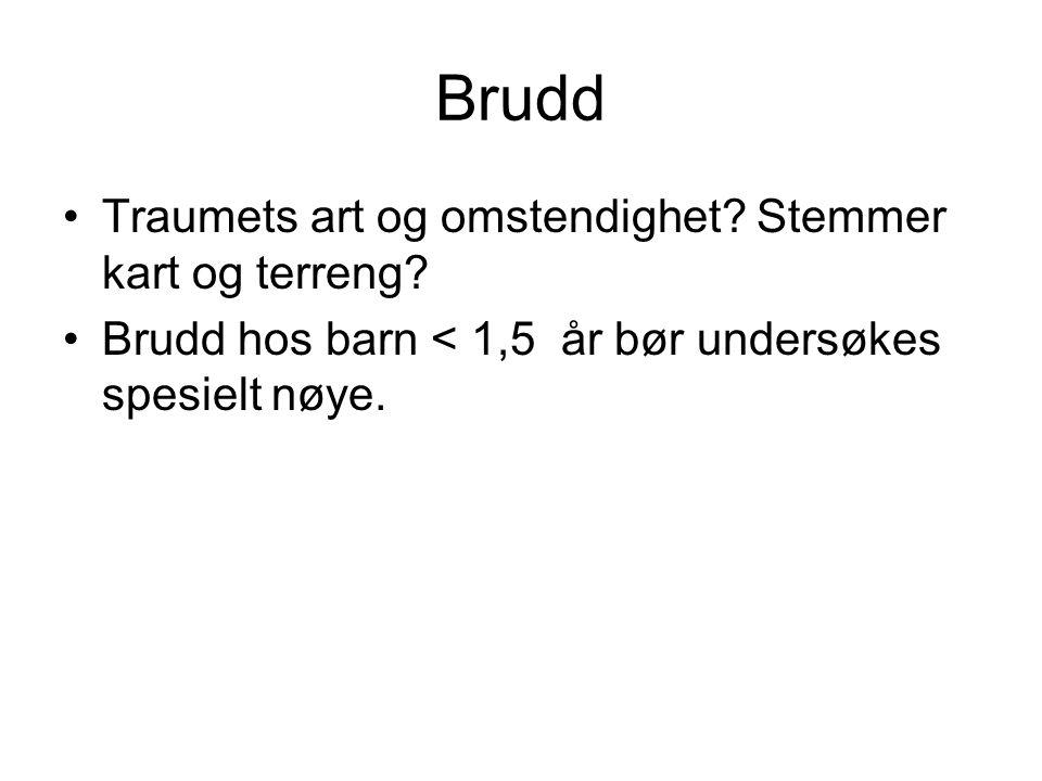 Brudd •Traumets art og omstendighet? Stemmer kart og terreng? •Brudd hos barn < 1,5 år bør undersøkes spesielt nøye.