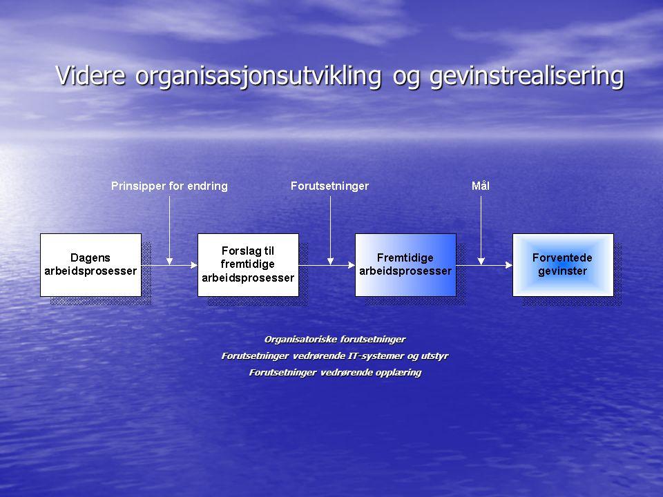 Videre organisasjonsutvikling og gevinstrealisering Organisatoriske forutsetninger Forutsetninger vedrørende IT-systemer og utstyr Forutsetninger vedr