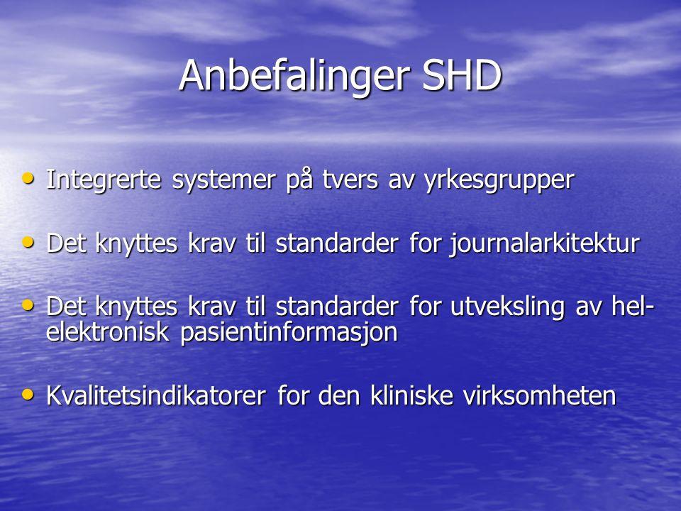 Anbefalinger SHD • Integrerte systemer på tvers av yrkesgrupper • Det knyttes krav til standarder for journalarkitektur • Det knyttes krav til standar