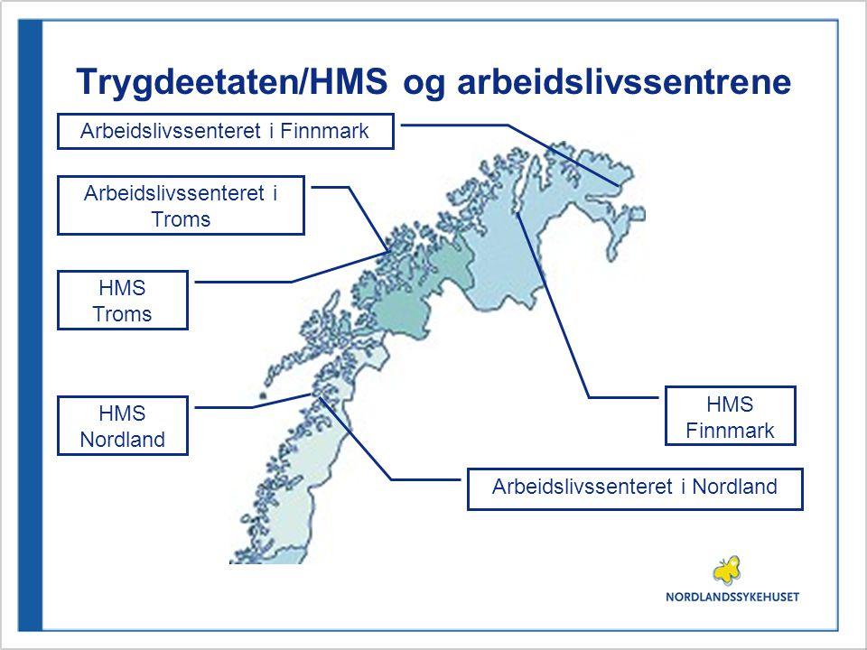 Trygdeetaten/HMS og arbeidslivssentrene HMS Nordland HMS Troms HMS Finnmark Arbeidslivssenteret i Nordland Arbeidslivssenteret i Finnmark Arbeidslivssenteret i Troms