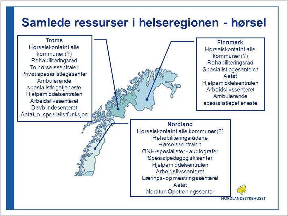 Samlede ressurser i helseregionen - hørsel Nordland Hørselskontakt i alle kommuner (?) Rehabiliteringsrådene Hørselssentralen ØNH-spesialister - audiografer Spesialpedagogisk senter Hjelpemiddelsentralen Arbeidslivssenteret Lærings- og mestringssenteret Aetat Nordtun Opptreningssenter Finnmark Hørselskontakt i alle kommuner (?) Rehabiliteringsråd Spesialistlegesenteret Aetat Hjelpemiddelsentralen Arbeidslivssenteret Ambulerende spesialistlegetjeneste Troms Hørselskontakt i alle kommuner (?) Rehabiliteringsråd To hørselssentraler Privat spesialistlegesenter Ambulerende spesialistlegetjeneste Hjelpemiddelsentralen Arbeidslivssenteret Døvblindesenteret Aetat m.
