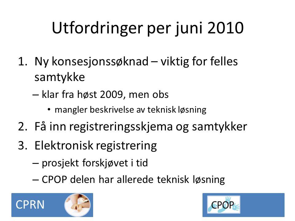 Utfordringer per juni 2010 1.Ny konsesjonssøknad – viktig for felles samtykke – klar fra høst 2009, men obs • mangler beskrivelse av teknisk løsning 2