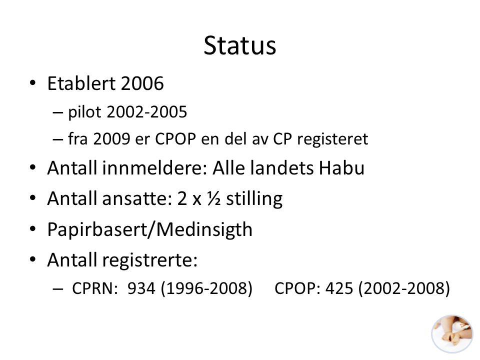 Status • Etablert 2006 – pilot 2002-2005 – fra 2009 er CPOP en del av CP registeret • Antall innmeldere: Alle landets Habu • Antall ansatte: 2 x ½ sti