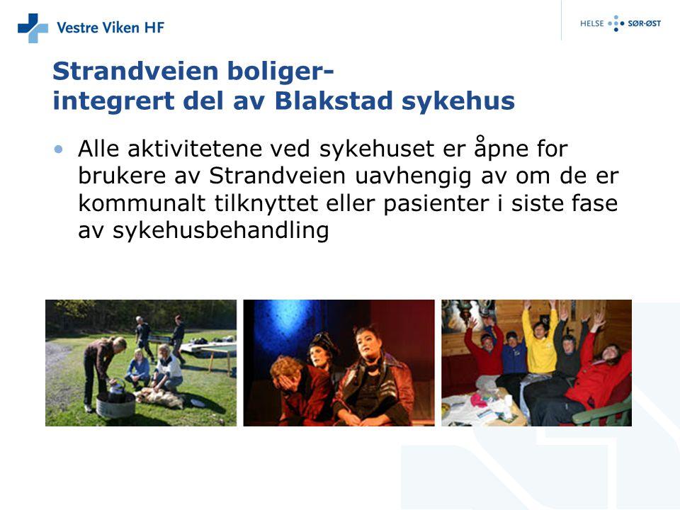 Strandveien boliger- integrert del av Blakstad sykehus •Alle aktivitetene ved sykehuset er åpne for brukere av Strandveien uavhengig av om de er kommunalt tilknyttet eller pasienter i siste fase av sykehusbehandling