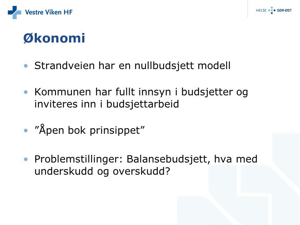 """Økonomi •Strandveien har en nullbudsjett modell •Kommunen har fullt innsyn i budsjetter og inviteres inn i budsjettarbeid •""""Åpen bok prinsippet"""" •Prob"""