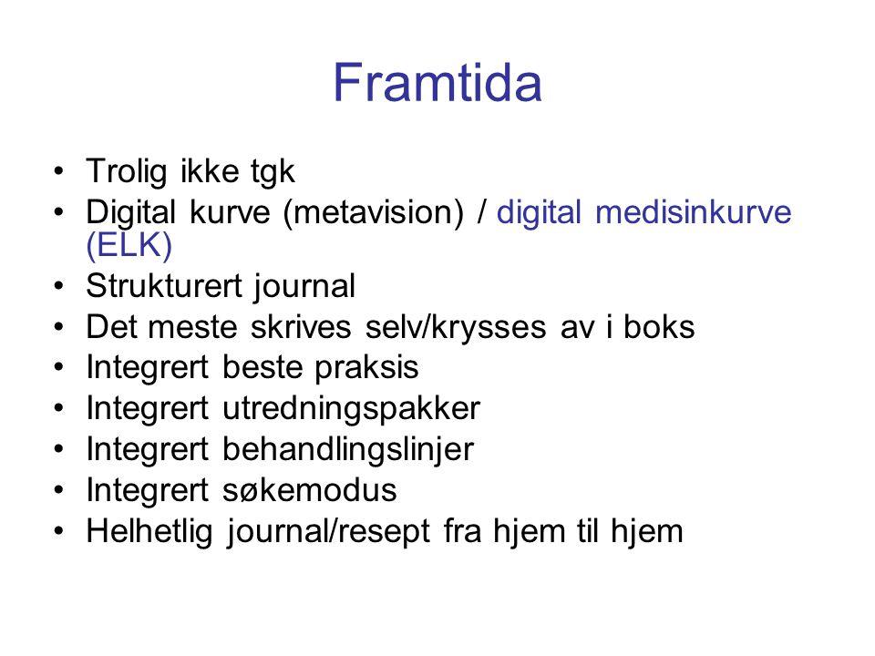 Framtida •Trolig ikke tgk •Digital kurve (metavision) / digital medisinkurve (ELK) •Strukturert journal •Det meste skrives selv/krysses av i boks •Int
