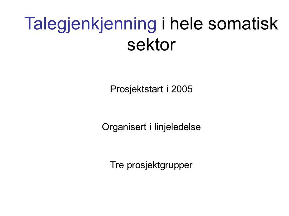 Talegjenkjenning i hele somatisk sektor Prosjektstart i 2005 Organisert i linjeledelse Tre prosjektgrupper