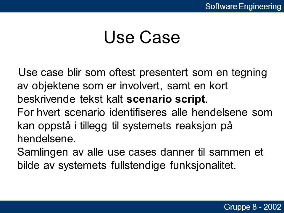 Software Engineering Gruppe 8 - 2002 Use Case Use case blir som oftest presentert som en tegning av objektene som er involvert, samt en kort beskrivende tekst kalt scenario script.