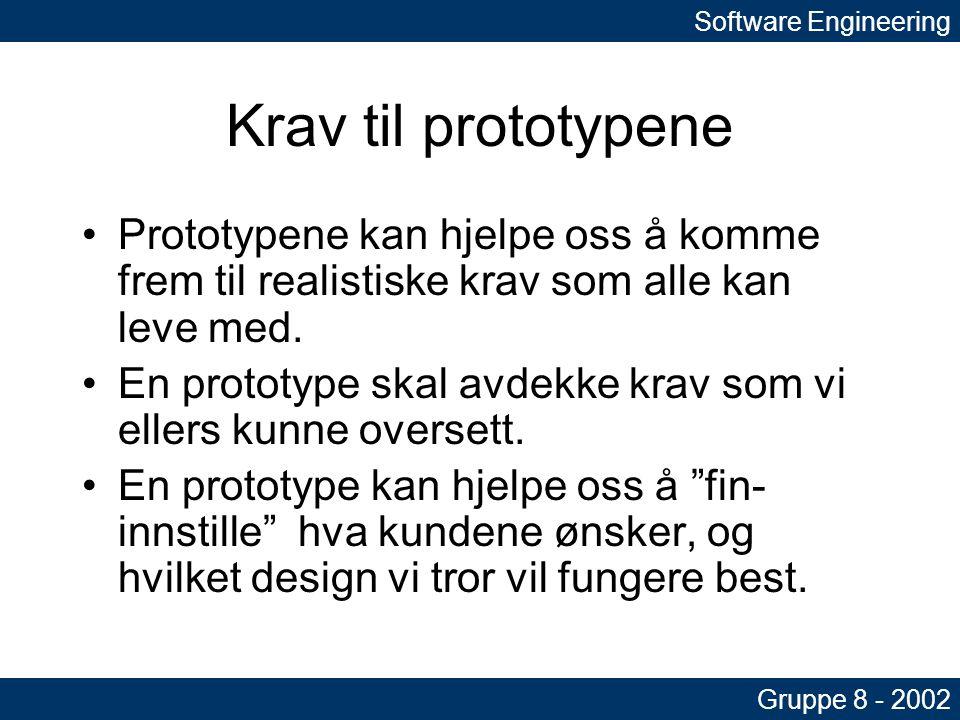 Krav til prototypene •Prototypene kan hjelpe oss å komme frem til realistiske krav som alle kan leve med.