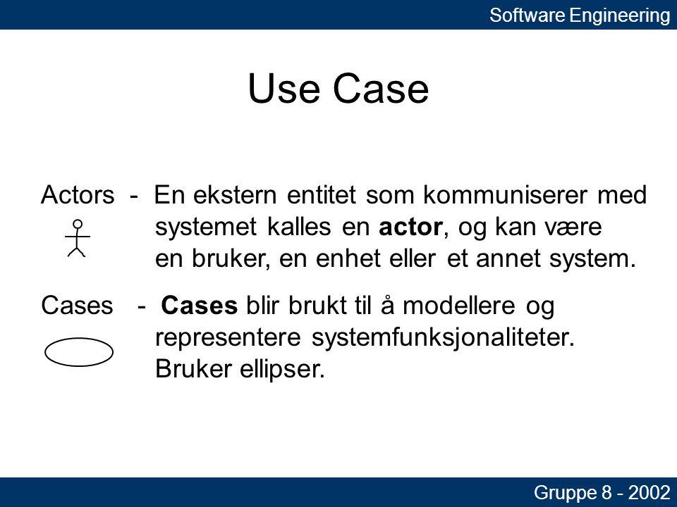 Software Engineering Gruppe 8 - 2002 Use Case Actors - En ekstern entitet som kommuniserer med systemet kalles en actor, og kan være en bruker, en enhet eller et annet system.