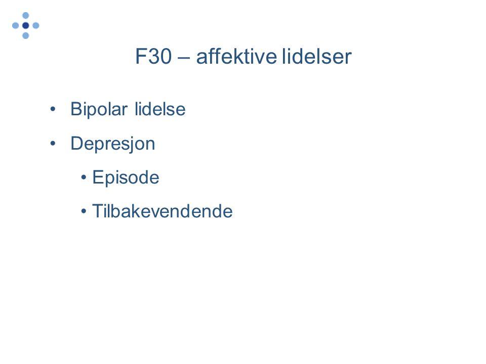 F30 – affektive lidelser •Bipolar lidelse •Depresjon • Episode • Tilbakevendende