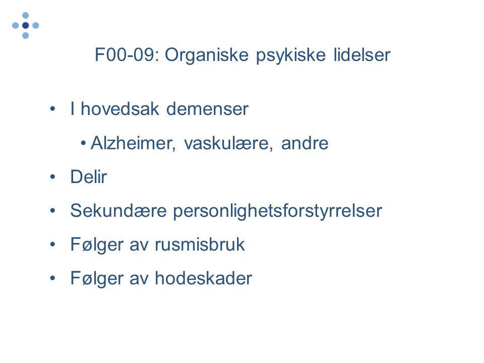 F00-09: Organiske psykiske lidelser •I hovedsak demenser • Alzheimer, vaskulære, andre •Delir •Sekundære personlighetsforstyrrelser •Følger av rusmisbruk •Følger av hodeskader