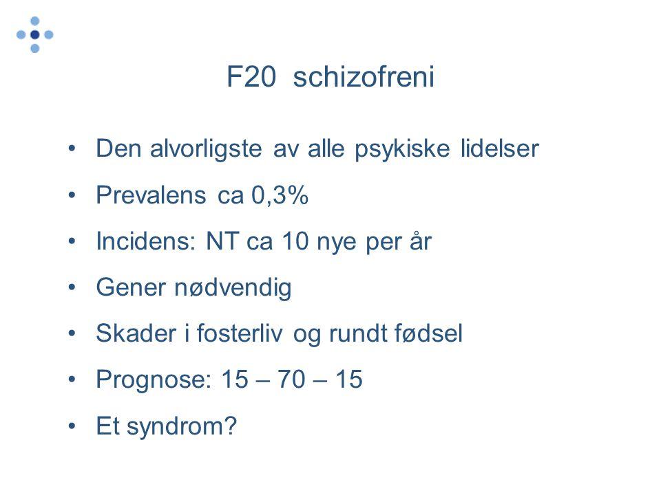 F20 schizofreni •Den alvorligste av alle psykiske lidelser •Prevalens ca 0,3% •Incidens: NT ca 10 nye per år •Gener nødvendig •Skader i fosterliv og rundt fødsel •Prognose: 15 – 70 – 15 •Et syndrom?