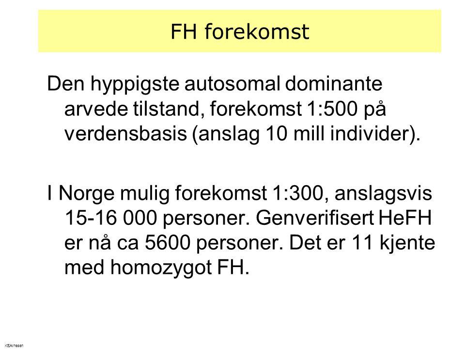 FH forekomst Den hyppigste autosomal dominante arvede tilstand, forekomst 1:500 på verdensbasis (anslag 10 mill individer). I Norge mulig forekomst 1: